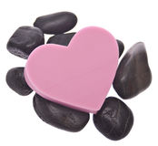 Heart on Zen Massage Stones Stock Photo