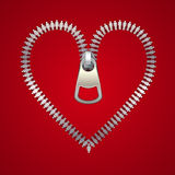 Heart with zipper, made of male and female icons, vector illustration.  Stock Image