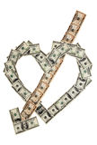 Heart1. Money heart and arrow on white background Stock Images