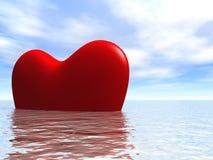 Heart3D in ocean. 3D heart floating at quiet ocean in good weather Vector Illustration