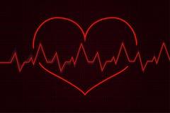heartbeat Диаграмма Cardiogram с красным сердцем иллюстрация штока