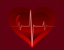 Heartbeat. Big red heart on a dark background Stock Photos