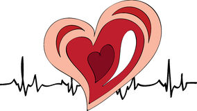 Heartbeat. Medical concept. Vector heart and heartbeat Royalty Free Stock Image