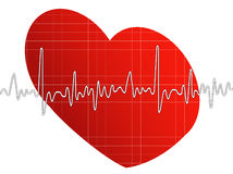 Heartbeat. Graph with heart background Stock Photo
