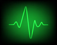 Heartbeat. Green heartbeat on the black background Stock Images