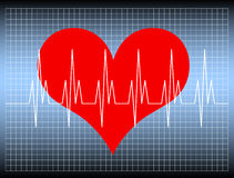 Heartbeat. Red heart with yellow oscillating lines. Available as Illustrator-file Stock Image