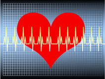 Heartbeat. Blue gradient background with a gradient grid above - a read heart with an oscillating line. Available as Illustrator-file Royalty Free Stock Photos