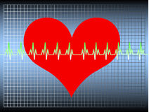 Heartbeat. Red heart with an oscillating line. Available as Illustrator-file Stock Image