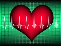 Heartbeat. Red heart with an oscillating line. Available as Illustrator-file Royalty Free Stock Photo