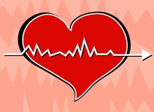 Heartbeat. Simple drawing of a heart beating Royalty Free Stock Photos