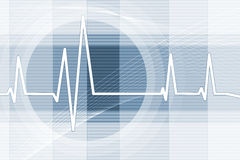 Heartbeat Background. A blue illustrated background showing the pulse strength of a heartbeat Royalty Free Stock Photos