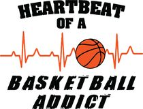 Heartbeat of a Basketball Addict. Sport Design for the basketball player Stock Photos