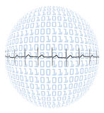 Heartbeat on binary Globe Royalty Free Stock Photo