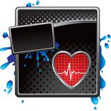 Heartbeat on black halftone grungy ad Royalty Free Stock Photography
