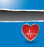 Heartbeat on blue ripped advertisement Royalty Free Stock Photos