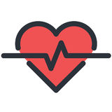 Heartbeat Cardio ecg or ekg. Illustration of Heartbeat Heart Shape Pulse Cardio ecg or ekg Royalty Free Stock Image