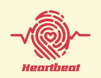 Heartbeat cardiogram fingerprint. Heartbeat fingerprint logo with heart shape inside. Conceptual retro security logo or identification icon with line of Royalty Free Stock Photos