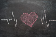 Heartbeat character and design on black chalkboard Royalty Free Stock Photography