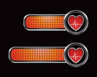 Heartbeat on checkered orange banners Royalty Free Stock Image