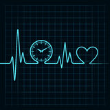 Heartbeat with a clock symbol in line Royalty Free Stock Images