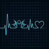 Heartbeat with a clock symbol in lineHeartbeat with a unity symbol in line Royalty Free Stock Photos