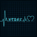 Heartbeat with a currency symbol in line Stock Image