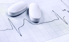 Heartbeat curve on cardiogram test Royalty Free Stock Image