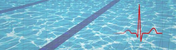 heartbeat ECG del ritmo del corazón, fondo subacuático de ECG Salud C imagen de archivo