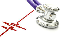 Heartbeat. ECG line and stethoscope Stock Photography