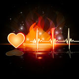 Heartbeat Fire Means Valentine Day And Cardiac Stock Photos