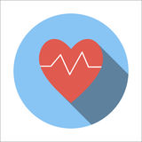 Heartbeat flat icon. Isolated on white background Royalty Free Stock Images