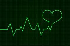 heartbeat Graphique de cardiogramme Ligne Verte dans la forme de coeur illustration stock