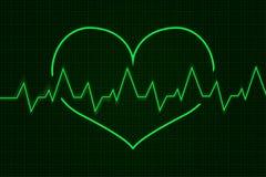 heartbeat Graphique de cardiogramme Ligne Verte dans la forme de coeur illustration de vecteur
