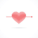 Heartbeat with Heart Shape Stock Photos