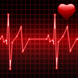 Heartbeat with heart Stock Photo