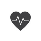 Heartbeat icon , heart rate solid logo illustration, picto. Gram isolated on white Royalty Free Stock Photos