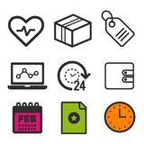 Heartbeat icon. Laptop statistics symbol. 24 hour open icon. Shopping label sign. Clock and Calendar icons. Eps10 Vector. Icon set Royalty Free Stock Images