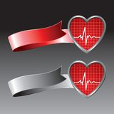 Heartbeat icon on red and silver ribbons Stock Photos