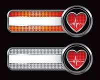 Heartbeat icon on specialized banners. Specialized banner templates with heartbeat icons Stock Photography