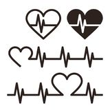 Heartbeat icons, Electrocardiogram Stock Image