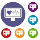 Heartbeat icons set Royalty Free Stock Images