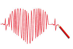 Heartbeat. A illustration of a EKG graph forming a heart symbol Stock Photography
