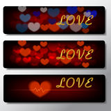 Heartbeat, love, banner background illustration design Stock Photos