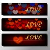 Heartbeat, love, banner background illustration design Stock Photos