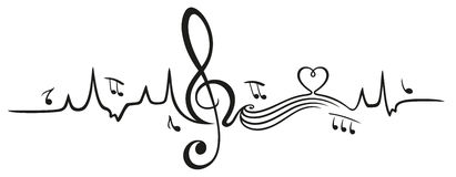 Heartbeat, love for music. Clef with Music notes vector illustration