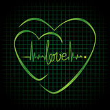 Heartbeat love text and heart symbol Stock Photos