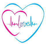 Heartbeat love text and heart symbol Stock Images