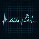 Heartbeat make aids word and symbol Stock Images