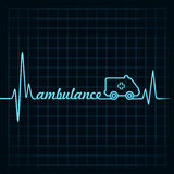 Heartbeat make ambulance text and symbol stock vec Royalty Free Stock Image