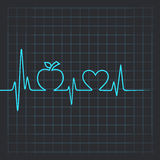 Heartbeat make apple and heart symbol Royalty Free Stock Photos